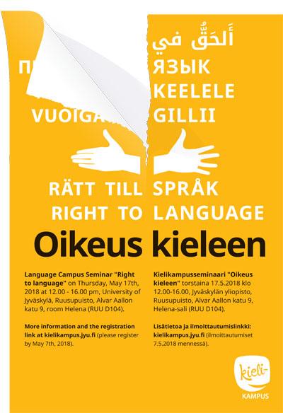Oikeus kieleen -seminaarin posteri