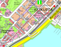Route from the station to Ruusupuisto