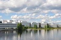 The Agora building from the lake Jyväsjärvi