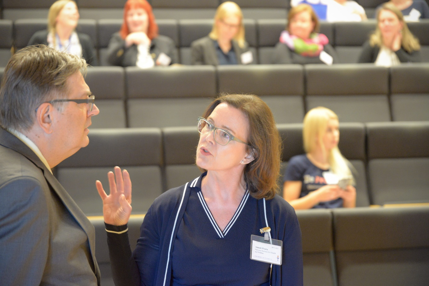 Professor Mikko Mäntysaari, the Chair of the Conference and Director Anneli Pouta, the representative of National Institute for Health and Welfare