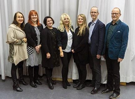 Kia Lindroos (left), Marianne Notko, Tuija Saresma, Marita Husso, Heli Päivinen, Aarno Laitila, Juha Holma