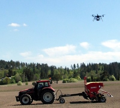 In future, drones will guide the work of tractors. Photo: Jere Kaivosoja.