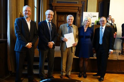 From the left: Secretary General Pekka Aula, Academician of Science Risto M. Nieminen, Professor Gennady Leonov, President Kirsi Tirri and Professor Pekka Neittaanmäki (photo by Nikolay Kuznetsov)