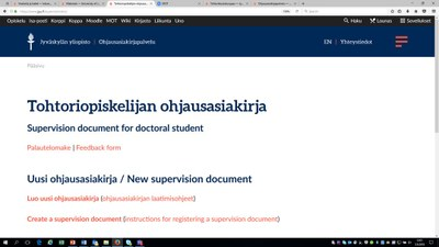 New supervision document service for doctoral students and their supervisors
