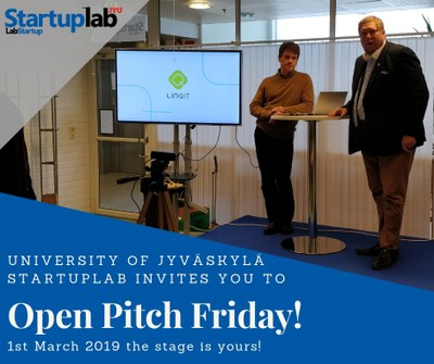 StartupLab JYU Open Pitch Friday on 1st March!