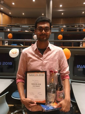 INASCON2018: The best presentation award for Dhanik Reshamwala