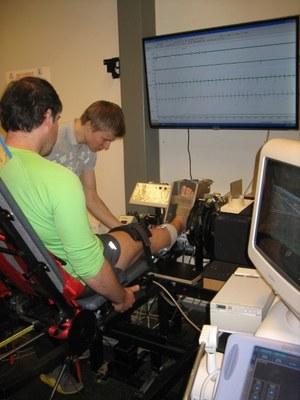 Liikuntabiologian laboratoriossa mitataan lihasvoimaa ja sen säätelyä.